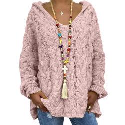 Cardigan incappucciato delle donne di modo di Autumn&Winter del Knit allentato del pullover del maglione delle donne più di formato