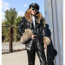 Женщина куртка мех колпачковая длинной втулки толстых слоев женщин молнией повседневный сплошным цветом теплые куртки