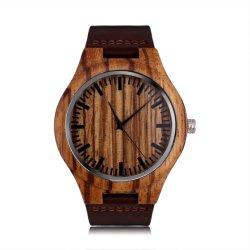 Hölzernes Uhrmens-Handgelenk-hölzerne Uhren für Geschenk-lederne Brücke-kundenspezifisches Firmenzeichen (JY-WO010)
