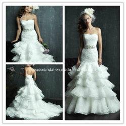 La dentelle bustier robe de mariée robe de mariée de cordon Tiered Organza Ya96