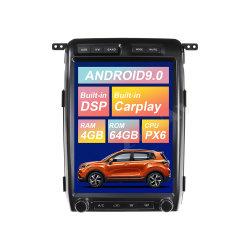 TeslaフォードF150 2009-2014年のGPSの運行Px6自動ステレオの無線のヘッド単位のための大きいスクリーンのアンドロイド9.0 64GB車のDVDプレイヤー