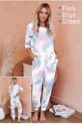 En 2020 à la mode O-cou à manches longues pour vêtements de nuit des femmes tie dye Set de 2 pyjama décontracté Ensemble d'usure d'accueil le Salon de l'usure