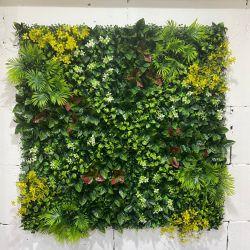 Artificial de alta calidad grandes hojas verdes verde personalizada Panel de pared de flores