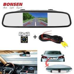 نظام الإيقاف الأوتوماتيكي + 8 بشاشة مرآة الرؤية الخلفية للسيارة مقاس 4,3 بوصة رؤية ليلية بالأشعة تحت الحمراء رؤية CCD للسيارة الرجوع للخلف منظر خلفي الكاميرا