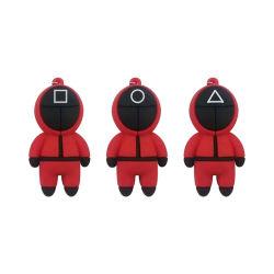 PVC مثلث مربع رمز دائرة Cosplay رجل امرأة لطيف حقيبة حلقة مفاتيح لفرقة Netflix المتدلية من مجموعة الحبار