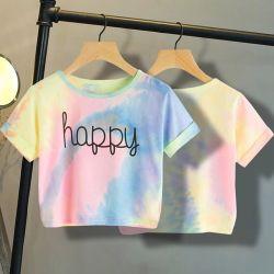 De Vrouw van t-shirts bedekt het Toevallige Overhemd van de T-stukken van de Kleurstof van de Band van de Koker van de Zomer van de Kinderen 2020 van de Vrouwen van het Gewas van Meisjes Gelukkige Brief Afgedrukte Korte Hoogste Korte