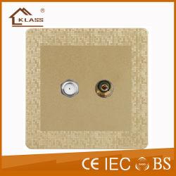 La parte superior vender Soket Interruptor de pared para el Hotel toma+TV por satélite