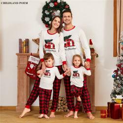 L'automne et hiver Nouveau jeu Lettre imprimée Housewear pyjamas parent-enfant Plaid