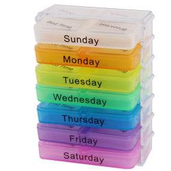 旅行サイズの携帯用プラスチックスマートなメモ7日の丸薬ボックス