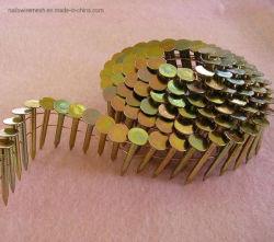 15 Degree galvanizado o pintado de uñas uñas clasificadas de la bobina de 1 1/4 techado de palet galvanizados clavos de la bobina de la madera