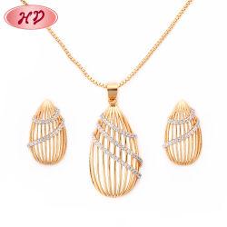 Qualidade elevada 18K banhado a ouro liga de prata mulheres jóias Conjuntos de Corrente com CZ Crystal