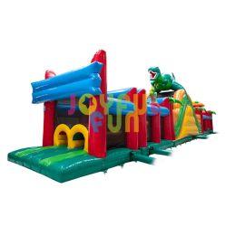 Alegre divertido caliente fábrica vender al por mayor obstáculo comercial curso personalizado al aire libre grandes obstáculos inflables para adultos y niños