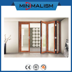 Cadre en aluminium avec verre de couleur noir/bois porte pliante pour la maison