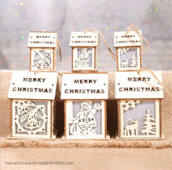 かわいい木製家ライトホーム装飾をハングさせる多彩なクリスマスのギフトの木