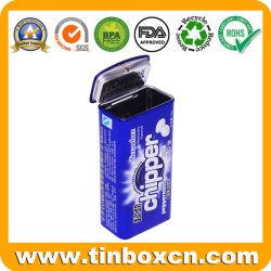 Retângulo personalizados articulada em relevo a Metal Box Candy Pode Mascar Mint latas com Bujão Tampa para embalagens de produtos de confeitaria