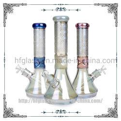 12,5 polegadas Sandblasted coloridos Electroplated Arco-Íris Holográfico de produção num copo de vidro de 7 mm de espessura do tubo de água da base do Adesivo de fumar