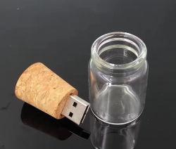 La dérive créative/bouteille souhaitant lecteur Flash USB 4 Go 8 Go de bouteille de verre de 16 Go avec liège USB