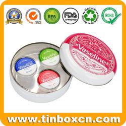 La vaseline Retro lèvre cadeau métallique rond étain cas pour les produits cosmétiques