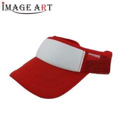(빨간) 크라운 없는 차양판 승화 면 메시 모자