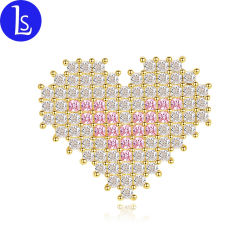 La moda al por mayor de la fábrica de Rhinestones Cubic Zirconia Designer broche en forma de corazón