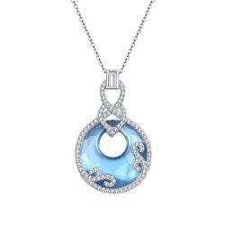 2020 moda colgante grande personalizada para Swarovski Cristal inicial Luna Zodiac Zodiac 925 Joyería de Plata joyas collar largo