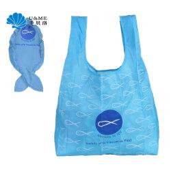 Kundenspezifische Fisch-Form, die faltbares Polyester-großen Einkaufen-Lebensmittelgeschäft-Beutel faltet