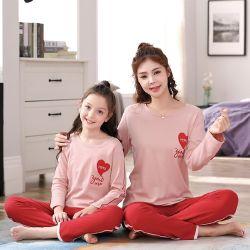 Lange Hülsen Muttergesellschaft-Kind Pyjamas mit Inner-Druck
