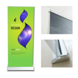 شاشة عالية الجودة من الألومنيوم، شاشة منبثقة، لفافة ملصق مزدوجة الجوانب قف بالشعارات