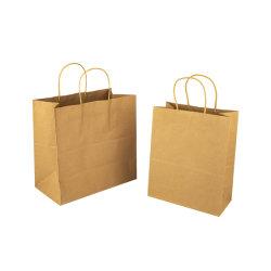 꼬이는 손잡이 로고 인쇄 아닙니다를 가진 가져오기 Kraft 재상할 수 있는 백색 음식 종이 봉지는 나른다 낮은 MOQ를 가진 부대를 지원된다