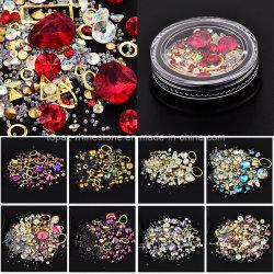 Cercle de pierre précieuse diamant mixte strass Nail Art Glitter 3D de nouveaux arrivent cristal Coffret à Bijoux Ongles décorations (NR-16)