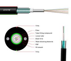 12/24のコア単一かマルチモードの屋外の装甲またはAmouredの空気の光ファイバか光通信ケーブル(GYXTW)