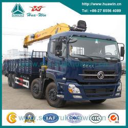 DFAC Cummins 8X4頑丈なクレーントラックの持ち上がる容量12トン