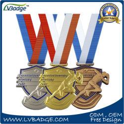 Medaille van de Sport van het Brons van het Ontwerp van de douane 3D Gouden Zilveren