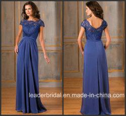Cap Sleeves Blue Mother Party Prom Vestido formal Vestidos de noite Longo B1450