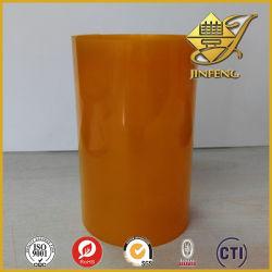 롤에 있는 주황색 PVC 필름