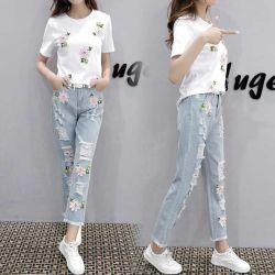 Высокая поясная запаса женщин джинсы Хорошая стиральная моды одежды спандекс джинсы для женщин повседневные Ripped джинсы Леди Hip Hop Джинсовые брюки отверстие брюки используется джинсы