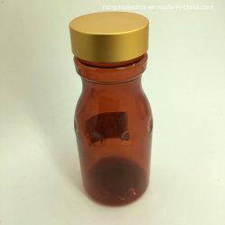 Plástico âmbar 120ml de reciclagem de garrafas PET Aboboreira Shape contêiner de plástico com tampa roscada de metal dourado