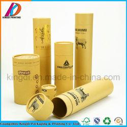 Impressão personalizada de comprimento do tubo de papel Kraft com carimbo de Ouro