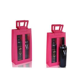 Portable personnalisé en cuir de gros de la double bouteille de vin (transporteur 4933R5)
