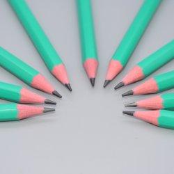 De kantoorbehoeften paste Afgedrukte Schets aan Trekkend Hexagonaal Groen Flexibel Houten Vrij Plastic GrafietHb het Schrijven Potlood