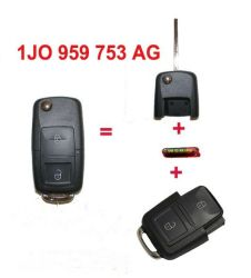 مفتاح تحكم عن بعد بزرين مع شفرة فارغة +ID48 شريحة 1j0 959 753 AG لفولكس فاجن سكودا مقعد 434ميجاهرتز