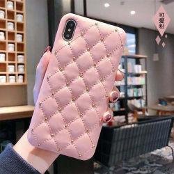 Pour l'iPhone Xi cas pu couvrir de téléphone mobile en cuir avec rivets avec doublure en microfibre brillant à l'intérieur