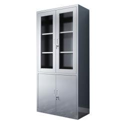 Больница мебель из нержавеющей стали медицинского документа шкаф для хранения с 2 стеклянные двери