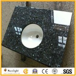 Parti superiori blu Polished di vanità del granito della perla della stanza da bagno con il dispersore di ceramica