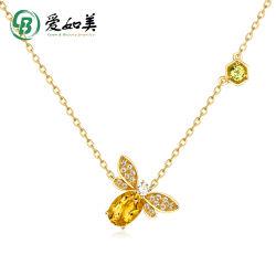 Kundengerechter netter Tieredelstein-Halsketten-Großverkaufnatürliche Zitrinperidot-Bienen-Schmucksachen