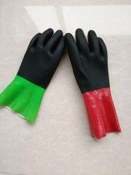 Farben-lange Stulpe-tauchte wasserdichtes haltbares Baumwollzwischenlage Kurbelgehäuse-Belüftung der Qualitäts-zwei Arbeitsarbeits-Sicherheits-Handschuh mit Chemikalien-und Riss-Widerstand ein