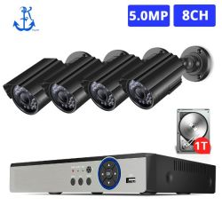 H. 265+ 5MP 8CH 4PCS 1920p HD étanche bullet camera de sécurité en plein air Ahd Kit de système de caméra de vidéosurveillance DVR