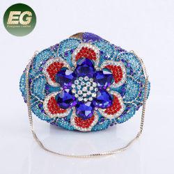 La moda bolso de lujo señoras cristal forma de flor bolsas para la noche del embrague de Estrás Boda Leb mayorista986