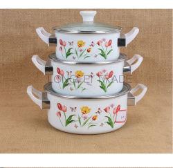 백색 전사술 유리제 뚜껑 베이클라이트 손잡이 Enamal 남비를 인쇄하는 3PCS 16-20cm 꽃