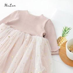 Niña de manga larga y vestido rosa vestido infantil de la primera fiesta de cumpleaños niño ropa de niñas